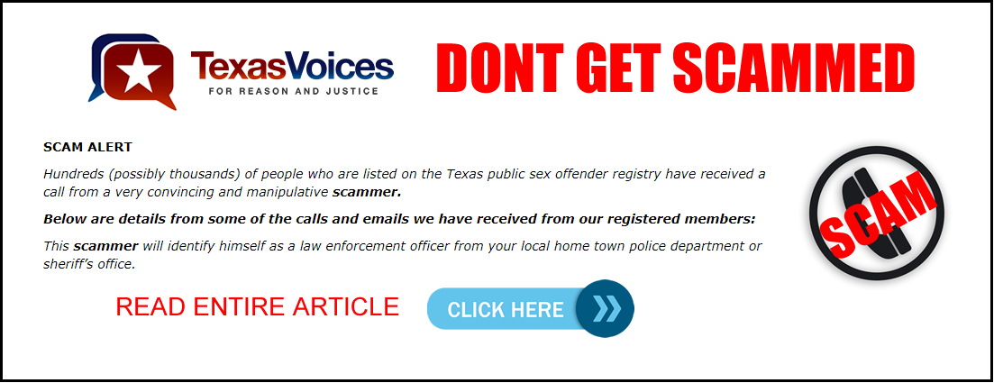 Texas voices sex offenders address
